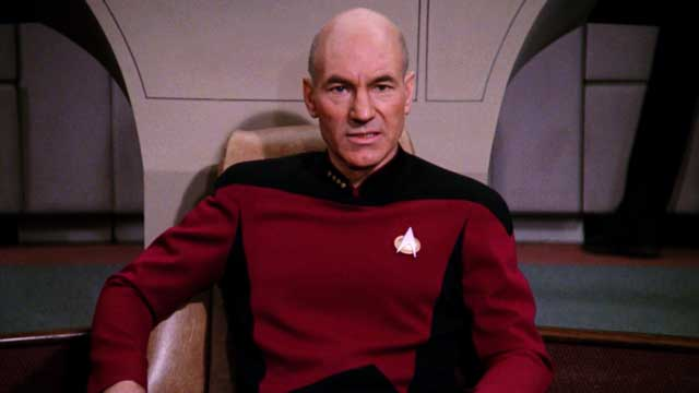 Jean-Luc Picard on the bridge